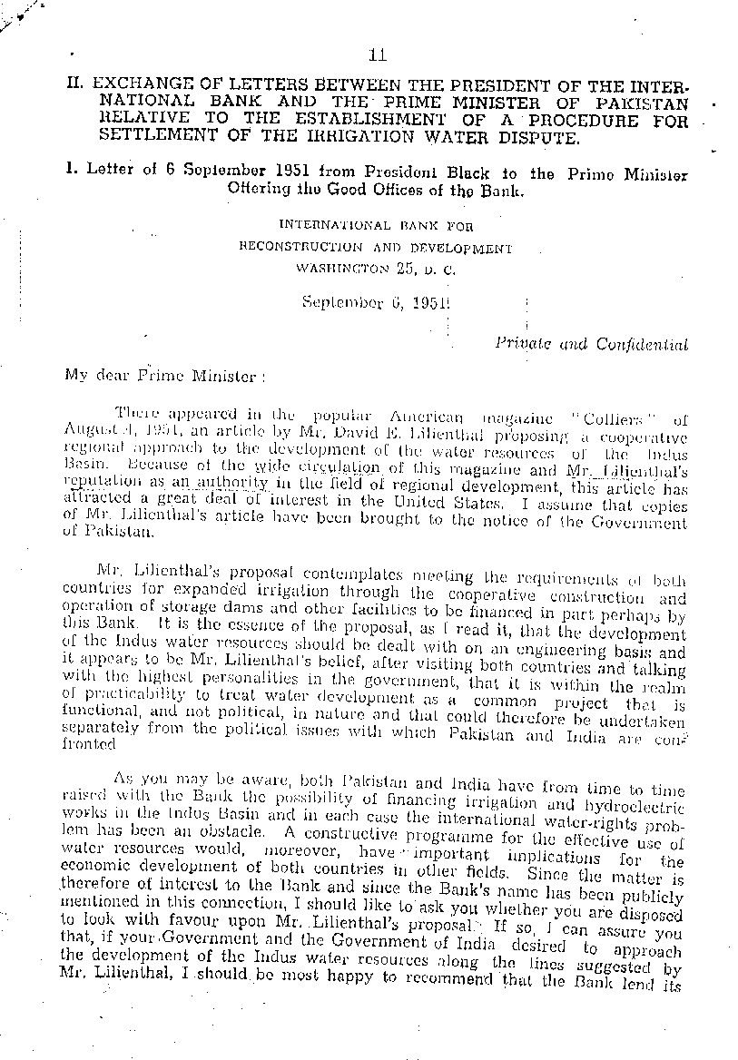 President Black's letter of 06 Sep 1951 to Prime Minister Mr. Liaqat Ali Khan